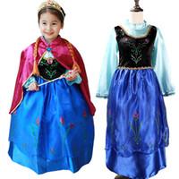 Wholesale new Frozen dresses Anna princess dress kids red cloak Puff Sleeve summer clothing children s clothes cartoon pattern