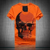 bar shirt - 2016 Hot Trend Brand T Shirt Front Fashion Big Skulls Head Slim Hot Drilling Casual T Shirt Bar Date Vogue Party T Shirt