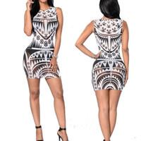 aztec bodycon dress - 2016 Sexy Women Tribal Tattoo Black Print Bodycon Dress White Aztec Sheer Mesh Geometric Club Mini Dress