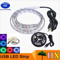 Wholesale 5V USB Cable LED Strip Light Lamp SMD3528 cm cm cm Christmas Flexible Led Strip Light with Mini Controller TV Background Lighting