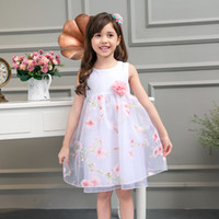 Wholesale Girls Summer Dresses New Style O Neck Sleeveless Flowers High Quality Poplin and Organza Girls Party Dress
