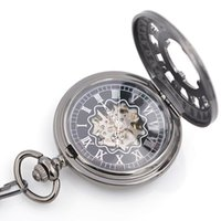 batch watch - Black mechanical pocket watch with Silver Rome number case leather chain and pocket watches box for sales Can be mixed batch