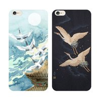apple crane - For iphone6 s case iphone7 plus case PC TPU case Water paste craft mobile phone case chinoiserie red crowned crane case fashion creative