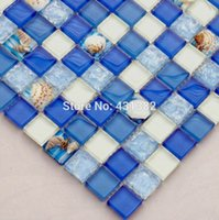 Wholesale New blue crystal glass mixed sea shell mosaic for kitchen backsplash tile bathroom shower hallway wall mosaic interior tile