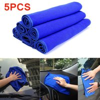 Wholesale 5Pcs set x70cm High Qusality Car Auto Care Microfiber Cleaning Towels Cloths Blue Absorbent Wash Cloth CCA_101