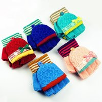 Wholesale Hot Selling Years Kids Gloves Multi Color Children Flip Half Finger Winter Warm Gloves Accessories Random Color VF0051