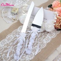 box cutter - 8pcs Wedding Cake Server Stainless Steel Knife Set Cutter with Gift Box Bridal Bowknot Rhinestone Silk Ribbon Flower Decoration