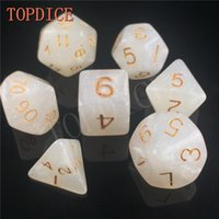 Wholesale TOPDICE High quality Multi Sided Dice with pearl color d4 d6 d8 d10 d10 d12 d20 set have pearl colors