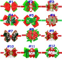 Wholesale 12styles Children Christmas tree headdress Snowman Santa Claus Snowflake print hairband baby hair accessories holiday gifts headwear