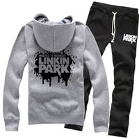 band sweaters - New Fashion Linkin Park Band Spring Winter Pure Cotton Zipper Fleece Hoodies Sweater Coat Jackets Sports Pants Tracksuit