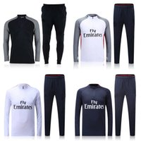 Wholesale 2016 Long Sleeve Winter Parc des Princes Colors Sweater Tracksuit Soccer Sets Football Full Suits Silva Pastore Motta Sport Wear training