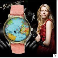 auto plane - 2016 map of the world by plane watch unisex denim fabric watch quartz watches automatic watch gift