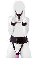 Wholesale Kinky Sex Bondage Set PU Leather Female Vibrator Harness Forced Multi Orgasm Underwear with Neck Collar to Wrist Restraint Cuffs