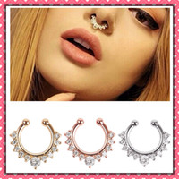 Wholesale 5pcs New Arrival Alloy Nose Hoop Nose Rings Body Piercing Jewelry Fake Septum Clicker Non Piercing Hanger Clip On Jewelry