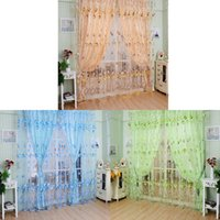 Wholesale Hot Pastoral Floral Tulle Voile Door Window Curtain Drape Panel Sheer Scarf Valances Divider Room Decor