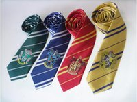 Wholesale Harry Potter Tie Gryffindor Harry Potter Badge Slytherin Gryffindor Ravenclaw Hufflepuff Striped Ties School Neckwear in stock