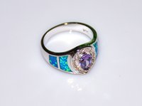 Wholesale Retail Fashion Fine Blue Fire Opal Rings with Blue Cubic Zirconia Stone Silver Plated Jewelry RAL152502