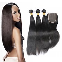 Wholesale Natural Straight Human Hair Weaves with Lace Closure Top Piece Virgin Brazilian Remy Free Middle Three Part Lace Frontal Hair Pieces