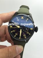Marque de haute qualité automatique des hommes noir de la montre en nylon vert bracelet en cuir de surface 7 jours de réserve de puissance de luxe montres pilotes