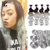 Cheap 2016 Hottest NEW Silver Grey Ombre Human Hair 4Pcs lot Ombre Silver Grey Hair Weave 1B gray Two Tone Brazilian Body Wave