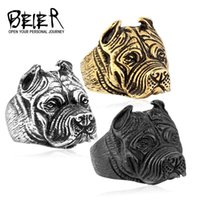american pits - 316L Stainless Steel Titanium Animal Pit Bull Dog Ring Men Personality Unique Men s Jewelry BR8 US size