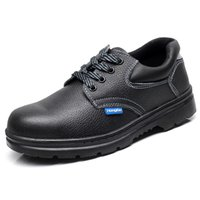 Wholesale Black men steel toe cap work safety shoes women leather big size shoes outdoor spring autumn footwear