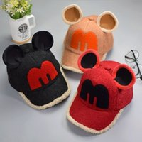 baseball cap ear warmer - Hug Me Mickey ears baby hat warm soft cotton cartoon Baseball cap with Letter M Children Hats AA
