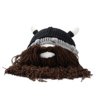 Wholesale Funny Wig Beard Viking Handmade Knitted hats Winter Warm Crochet Caps Men Women Gift Party Face Mask Beanies Xmas horn