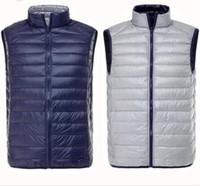 Wholesale Replace the seasonal Fall Men s Ultra Light Down Double Sided Zipper Puff Gilet Vests Colors Jackets Waistcoat Winter Jackets