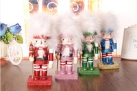 Wholesale Wooden Table Walnut Toy Zakka Dolls Soldiers Wood puppets Wedding Birthday Gifts toys New quot Christmas Holiday Nutcracker Colorful
