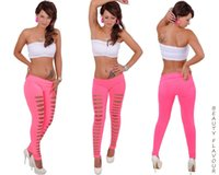 Wholesale 3 Designs Fashion Women s Candy Color Stretchy Casual Pants Female Ripped Hole Cut out Soft Leggings Women Sexy Trousers