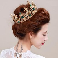 Wholesale Fasion Luxury Wedding Jewelry Sets Bridal Tiara with Earrings Red Gem Golden Plated Crown Hair Jewelry Accessories DHL Free