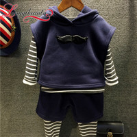 Wholesale Spring Sweater Vest For Boys - 2016 Autumn Winter New Fashion Boys Striped Hooded Vest+sweater+pants three Pieces Long Sleeve Suit Sets for Boys Kids
