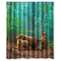 bear shower curtains - Custom Cool Brown Bear Family In The Forest Waterproof Bathroom Shower Curtain Polyester Fabric Size W x180 H cm