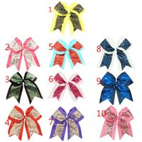 Wholesale 8 Inch Kids Girls Hairbands Bowknot Sequin Hair Clips Handmade Ribbon Barrettes Holiday Gift Children Hair Accessories