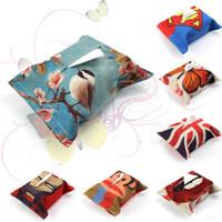 Wholesale Creative Linen Print Tissue Box Tissue Storage Tissue Holder Home Dining Room Car Napkin Paper Handkerchief Case Storage Designs LJJP169