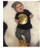 arrow shorts - MAMAS BOY summer baby clothing outfits Toddler clothes Gold print arrow cotton short sleeve black T shirts tops pants sets
