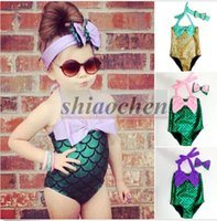 Wholesale Kids Mermaid Bodysuit Bikini Baby Bowknot Headband Mermaid Swimsuit Girl Mermaid Swimwear One Pieces Mermaid Monokini Bikini Suits B297
