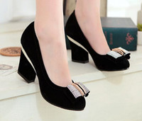 Wholesale Plus size Spring new fashion high heeled square heel woman OL shoes round toe thick heels pumps single shoes