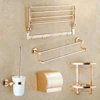 anodizing metal - Bathroom Accessorie Anodizing Metal Golden Aluminum Bath Hardware Set Towel Shelf Towel Bar Paper Holder Toilet Brush Holders