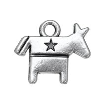 antique wooden horses - a antique silver plated USA democrat symbol wooden horse charms