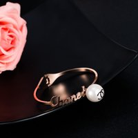 Wholesale Stars Loves Big Pearl Rose Gold Stainless Steel Bracelets Never Fade Titanium Bangle Charm Ornaments For Fashion Women Girls