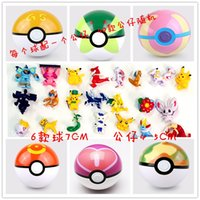 Wholesale 6Sets cm Cute Cartoon Poke Ball Pokeball Mini Figurine Model Classic Anime Pikachu Super Master Pokémon Ball Action Figures Toys
