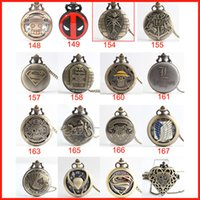 Wholesale 40 type Harry Potter One Piece Superman Naruto Deadpool Pocket Watch necklace quartz Watch fob pocket Watches locket Christmas gift