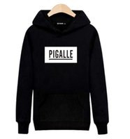 Wholesale New XL PIGALLE Black Hooded Mens Long Sleeve Hoodies Mens Hip Hop Hoodies with Luxury Sweatshirt Men Brand Gray White