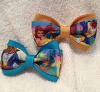 Barrettes beauty and beast characters - Beauty and the Beast boutique hair bows barretes ribbon clips ribbon girls birthday Christmas New Year school party gifts
