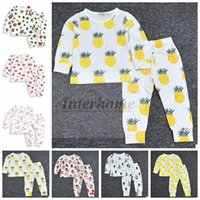 baby sleepsuits - Baby Ins Pajamas Cactus Pineapple Sleepsuits Strawberry Lemon Nightwear Fashion Cotton Nightsuits Long Sleeve Tops Trousers Homewear B492