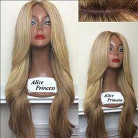 beauty wave long - Brazilian Silk Base Blond Wig Top Quality Loose Wave Human Hair Wig Very Beauty Long Wave Wigs For Women