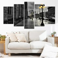 Wholesale Modern Style Abstract Painting Canvas Retro City Street Landscape Pictures Decorative Painting Wall Art No Frame Piece