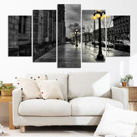 al por mayor marco digital de la pared-Pintura abstracta del estilo moderno Lienzo Retro Paisaje del paisaje de la calle de la ciudad Pintura decorativa Arte de la pared No Frame 5 Piece